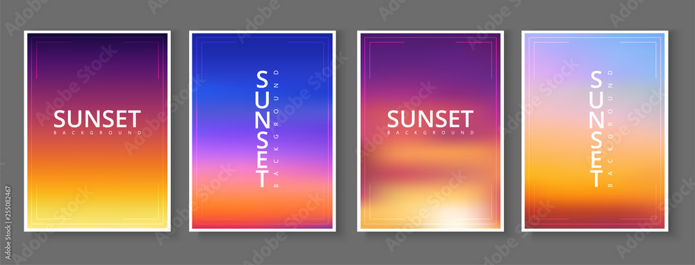 Fototapeta Sunset - set of cards. Spectrum poster in purple and orange gradient colors.