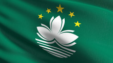 Macau National Flag Blowing In The Wind Isolated. Official Patriotic Abstract Design. 3D Rendering Illustration Of Waving Sign Symbol.