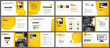 Presentation and slide layout template. Design yellow and orange gradient in paper shape background. Use for business annual report, flyer, marketing, leaflet, advertising, brochure, modern style.