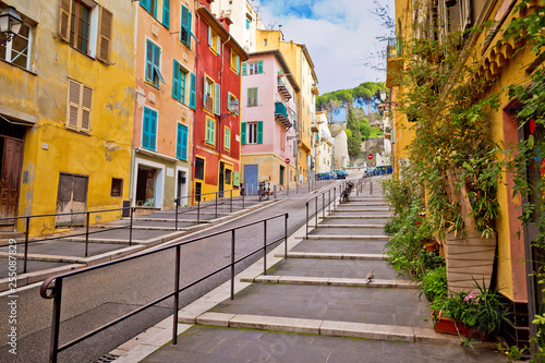 Fotobehang Nice Town of Nice romantic french colorful street architecture view