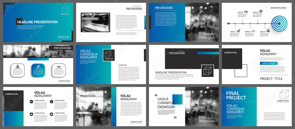 Fototapeta Presentation and slide layout template. Design blue and green gradient geometric background. Use for business annual report, flyer, marketing, leaflet, advertising, brochure, modern style.