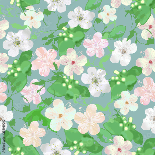 Papel de parede Seamless watercolor delicate floral  pattern with roses