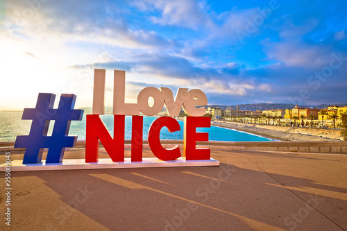 Deurstickers Nice I love Nice tourist sign above Promenade des Anglais in city Of Nice