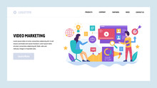 Vector Web Site Design Template. Video Marketing And Digital Advertising, Social Media Target Ad. Landing Page Concepts For Website And Mobile Development. Modern Flat Illustration