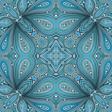 Mosaic Seamless Turquoise Pattern With Paisley And Dots. Ornamental Traditional Etchnic Design. Vector Print.