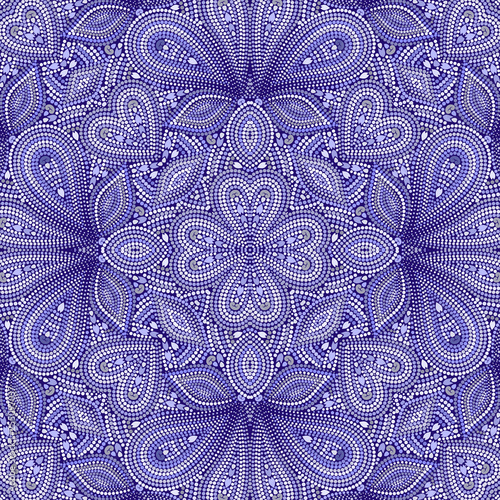 Cuadros en Lienzo Mosaic blue seamless pattern with paisley and  dots