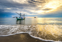 Wooden Fishing Boat On The Beach At Kao Tao, Prachuap Khiri Khan, Thailand. Beautiful Sunrise In Morning Time.