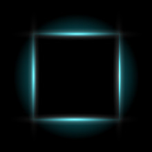 Abstract Geometric Shapes With Realistic Neon Led Backlighting Behind Isolated On Black Background.