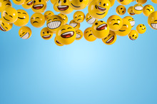 Falling Emoji Characters On The Blue Background.