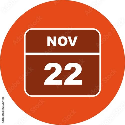 Fotografia  November 22nd Date on a Single Day Calendar