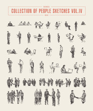 Collection Of People Sketches Vector Hand Drawn