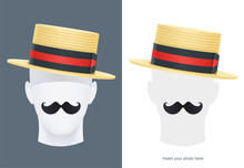 Vintage Classic Boater Straw Hat At Manikin. Stylish Cylinder Headgear For Gentleman. Retro Wear Accessory. Male Fashion. Man Face Avatar. Trendy Clothes. Isolated White. Eps10 Illustration.