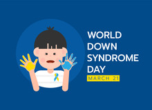 World Down Syndrome Day Banner With Down Syndrome Child Boy Character Are Yellow And Blue Hand Paint Vector Design