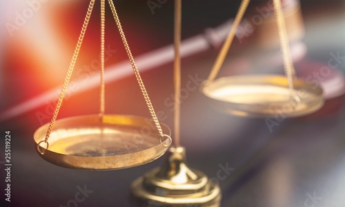 Obraz na plátně Justice Scales and wooden gavel on wooden table