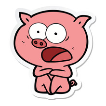 Sticker Of A Shocked Cartoon P...