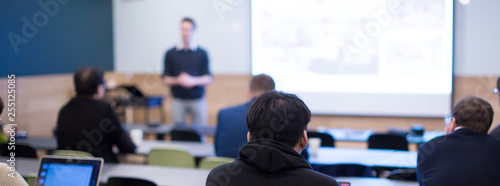 Fototapety, obrazy: Presenter Presenting. Business Presentation. Business Speaker Seminar Photo. Tech Conference Discussion. Manager Meeting Successful Team. Group of Technology People. Business Start Up Entrepreneurs.