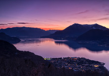 Sunset Over Lake Como From Heights Over Dervio,Lecco District, Lombardy, Italy,Europe