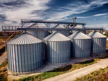 Agriculture Background Modern Silos For Storing Grain Harvest