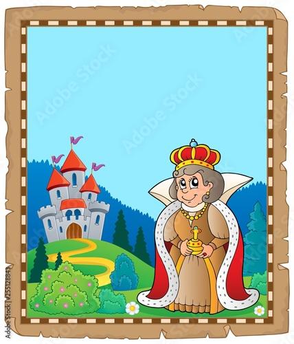 Foto op Canvas Voor kinderen Parchment with queen near castle 3