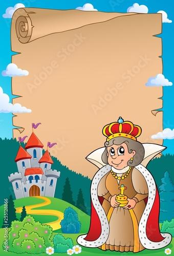 Foto op Canvas Voor kinderen Parchment with queen near castle 4