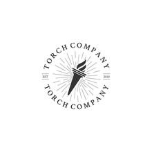 Elegant Luxury Torch Flame Logo Design Inspiration With Sunburst -