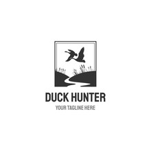 Hunting Club Retro Label Isolated On White Background.Vector Illustration.