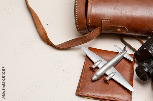 Fototapeta  Vintage style travel objects in still life, top view