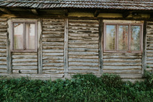 Wood Log Wall Of Rural House Perfect For  Background