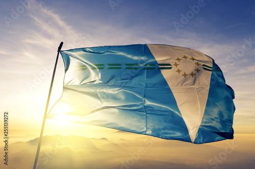Fotografía  Formosa province of Argentina flag waving on the top sunrise mist fog