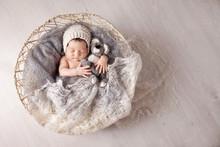Sweet Newborn Baby Sleeps In A...