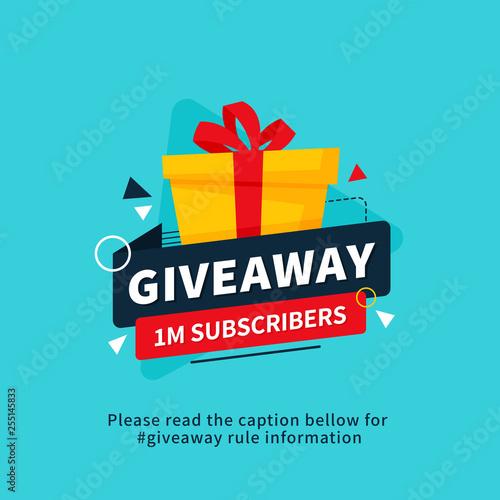 Fotografering Giveaway 1m subscribers poster template design for social media post or website banner