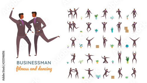 Fotografie, Obraz  Vector young adult man in business suit ready-to-use character casual poses set in flat style