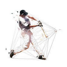 Baseball Player Swinging With Bat, Low Polygonal Batter, Isolated Geometric Vector Illustration. Team Sport Athlete