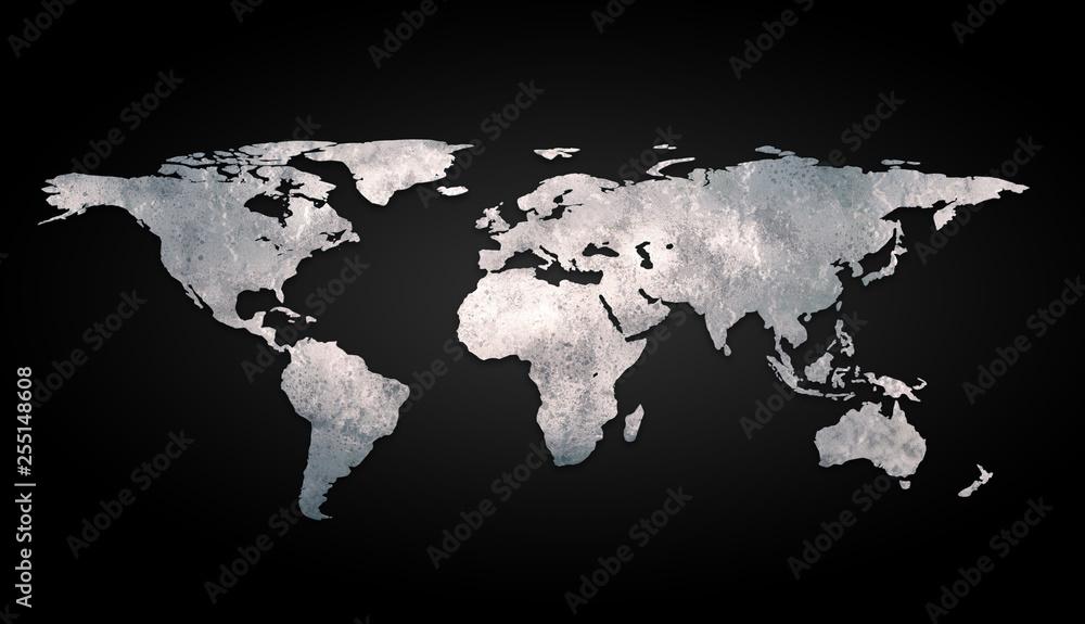 Fototapety, obrazy: 3d world map metal on black background