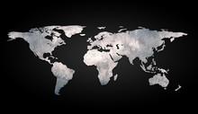 3d World Map Metal On Black Ba...