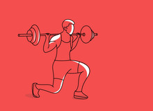 Strong Bodybuilder Sportsman Lifting Heavyweight Barbell Over His Head, Flat Line Art Design.