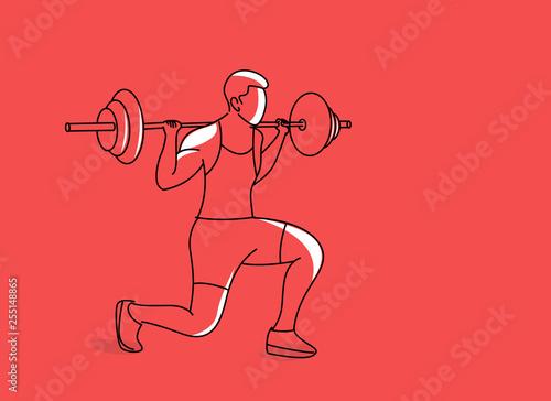 Vászonkép Strong bodybuilder sportsman lifting heavyweight barbell over his head, Flat Line Art Design
