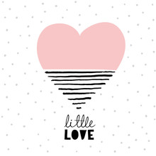 Lovely Simple Abstract Pink Heart With Black Hand Drawn Lines. Love Symbol Isolated On A White Background. Light Gray Polka Dots Layout. Baby Shower Vector Card.