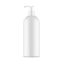 Blank Pump Bottle Mockup Isolated On White Background. Vector Illustration