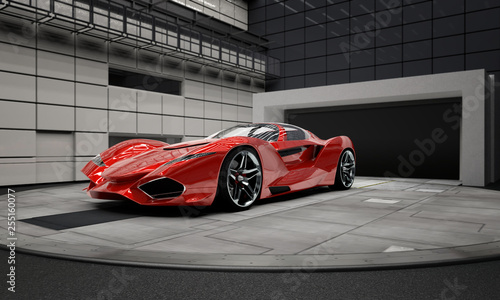red-future-prototype-car-in-a-testlab