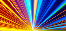 Light Motion. Speed Motion On The Neon Glowing Road At Dark. Speed Motion On The Road. Colored Light Streaks Acceleration. Abstract Illustration. Blue And Orange Yellow Motion Streaks. Space Gates.