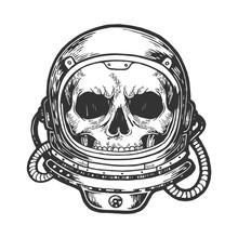 Human Skull Astronaut Helmet Sketch Engraving Vector Illustration. Scratch Board Style Imitation. Hand Drawn Image.