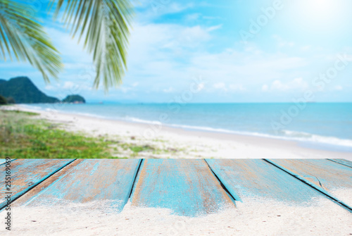 Fototapeta Wooden floors and ocean backdrop Suitable for a beach use. The beauty of nature obraz
