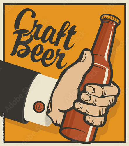 Vászonkép  Vector banner on the theme of beer in retro style with calligraphic inscription Craft beer