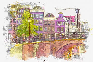 Panel Szklany Podświetlane Architektura Watercolor sketch or illustration of a beautiful view of traditional residential buildings or urban architecture in Amsterdam in the Netherlands
