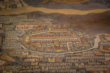 Jordan. Madaba (biblical Medeba) - St. George's Church. Fragment Of The Oldest Floor Mosaic Map Of The Holy Land - The Holy City Jerusalem