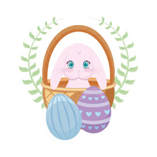 Cute Rabbit In Basket With Eggs Of Easter