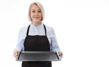 Kitchen Woman Gives Empty Tray...