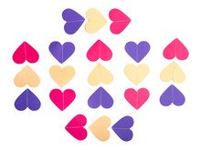 Colorful Paper Hearts In Rows ...