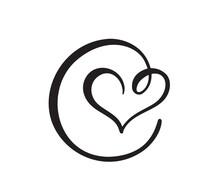 Hand Drawn Heart Love Sign. Ro...